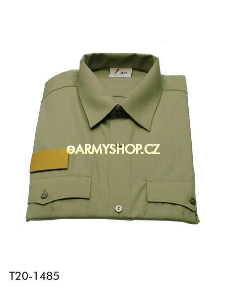 košile vz.95 oliva 43-44 vycházkové košile vzor 95 originál používaný vojáky AČR vycházkové košile sdlouhým rukávem dvě náprsní kapsy spatkou na knoflíky zapínání na knoflíky materiál: 65% polyester