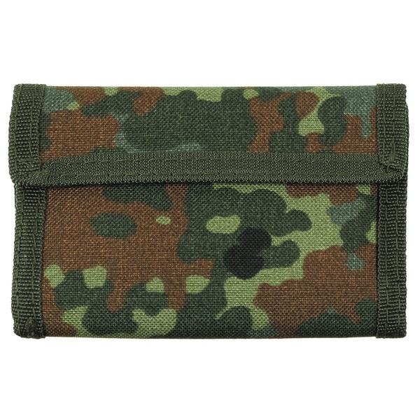 peněženka BW maskáčová peněženka sněmeckým maskovacím vzorem flecktarn zapínání na suchý zip řada vnitřních kapes na bankovky
