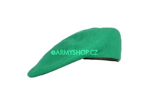 baret barevný nový - světle zelený 58-59 baret tmavě světle zelený originál používaný AČR baret má kožený okraj ve kterém je protažena šňůrka na ztažení složení: vrchní materiál 100% vlna