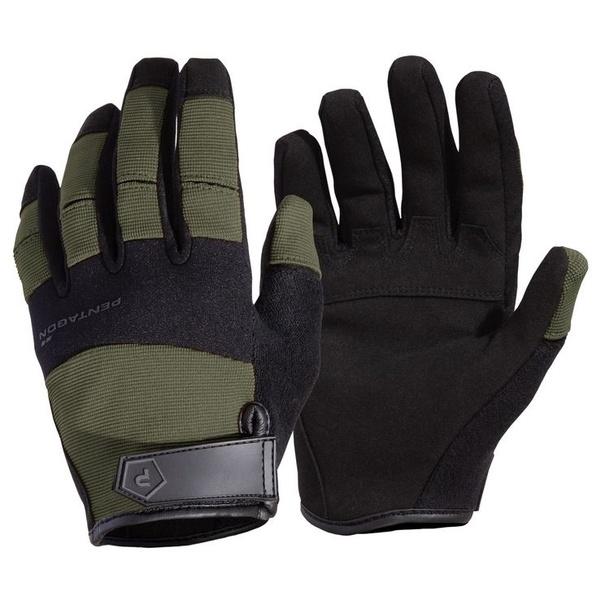 rukavice Pentagon Mongoose oliva robustní nylonový materiál kožená dlaňová část střih přizpůsobený pro lepší pohyb prstů lehké súpravou proti pocení