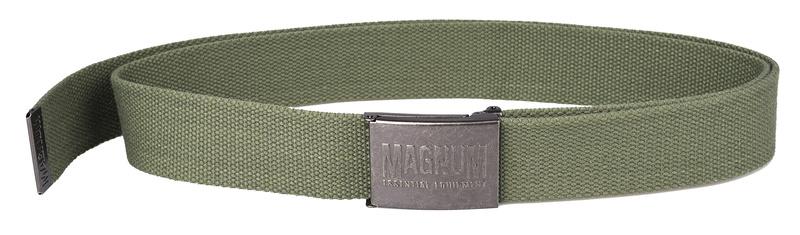 opasek Magnum Essential oliva Opasek MAGNUM Essential -oliva Zelený pásek Magnum Kovová přezka svystouplým logem Přezka obsahuje vzadní části po rozepnutí pásku otvírák na lahve Délka: 140cm Šířka: 4