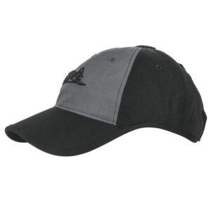 kšiltovka Helikon s logem R/S černá/šedá Čepice baseball Logo Cap svýšivkou Helikon-Tex® vpředu.Výstřihy přes uši umožňují velmi pohodlné nošení sbrýlemi